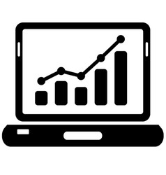 black laptop and chart icon on white vector image