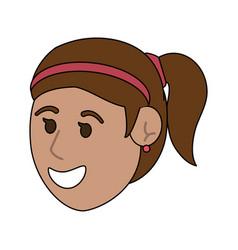 happy young women face cartoon vector image