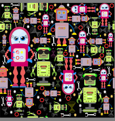 seamless background funny colorful robots vector image