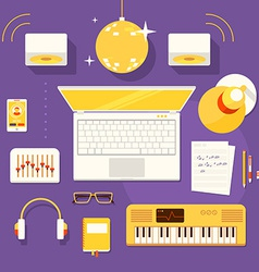 workplace of musician vector image