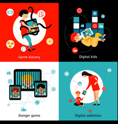 Children internet addiction 4 flat icons vector