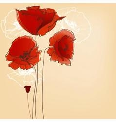 Flower background for greeting cards poppy design vector image vector image