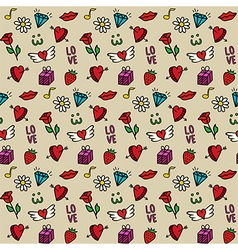 Love seamless pattern Valentines day background vector image