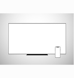 smart tv lcd screen monitor and smartphone vector image vector image