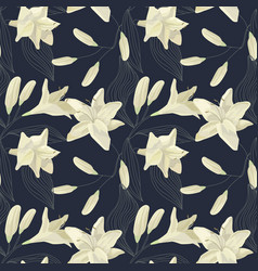 tropical lily engraving seamless pattern vector image vector image