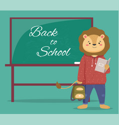 A smart lion schoolboy holding exercise book and vector