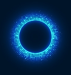 abstract disco background with neon glowing circle vector image