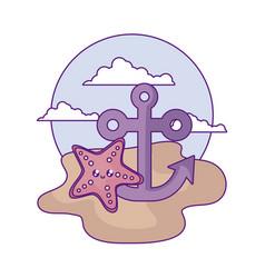 anchor marine with starfish kawaii in beach vector image