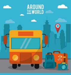 Around the world bus pin map luggage photo camera vector