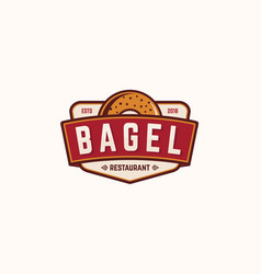 bagel restaurant logo template vector image