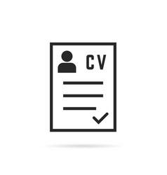 black thin line cv icon or curriculum vitae vector image