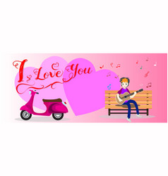 Boy play guitar love for valentine day vector