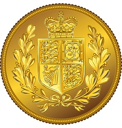 British money gold coin sovereign with the vector