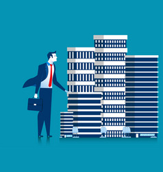 business man owner skyscraper buildings vector image
