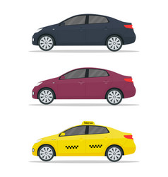 Car sedan mockup yellow taxi mockup realistic vector
