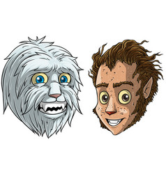 cartoon funny little bigfoot and werewolf vector image