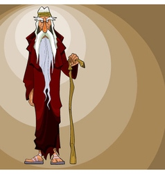 Cartoon gloomy gray haired man stands with a stick vector