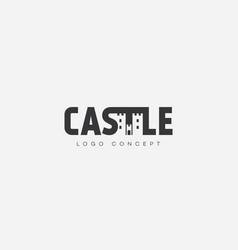 castle lettering logo vector image