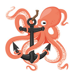 cheerful octopus with an anchor vector image
