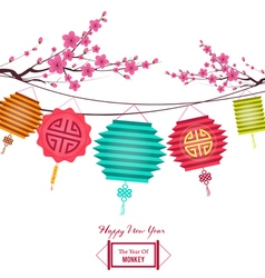 Chinese new year background with lantern and plum vector