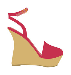 Color silhouette of sandal shoe with platform sole vector