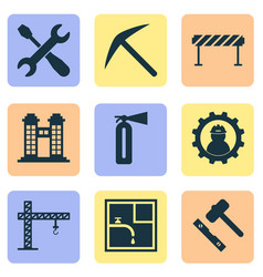 construction icons set with drawing barrage fire vector image