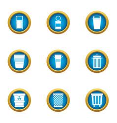 Consumption basket icons set flat style vector