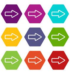 cursor to right icon set color hexahedron vector image