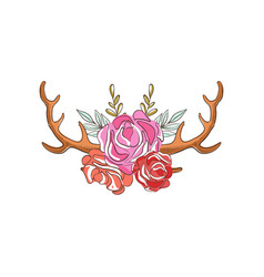 Deer horns with rose flowers hand drawn floral vector