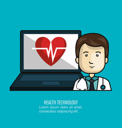 digital healthcare technology icon vector image