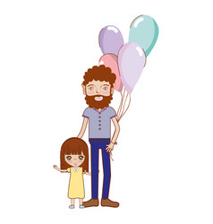 father with his daughter and balloons vector image