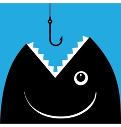 Fish open mouth to swallow a hook vector image