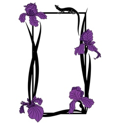 frame with irises and lizard vector image
