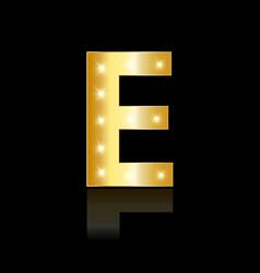 golden letter e shiny symbol vector image