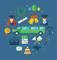 Graduation Celebrating Concept Icon Set vector image