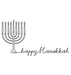 Hanukkah menorah one line drawing vector