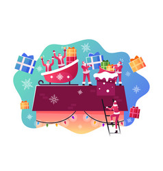 happy santa claus characters sitting in sled vector image