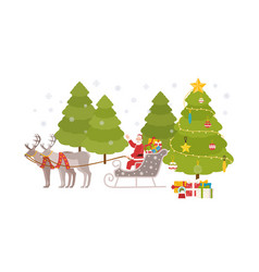 happy santa claus sits in sleigh carried by vector image