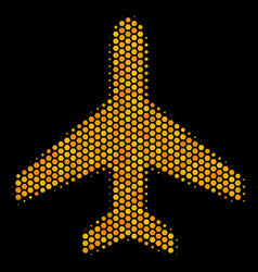 Hexagon halftone air plane icon vector