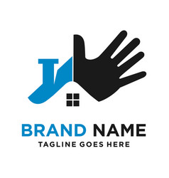 home and hand logo design vector image