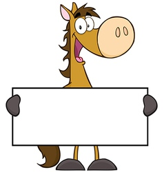 Horse Cartoon Character Holding A Banner vector image