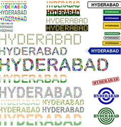 Hyderabad text design set vector image