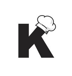 Kitchen utensil chef hat alphabet theme logo icon vector