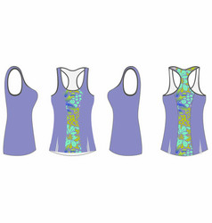 Ladies printed sport tank top template vector