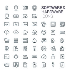 line software and hardware vector image
