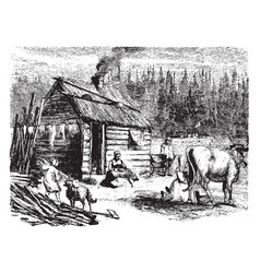 Log cabin vintage vector