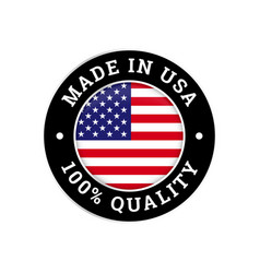 made in usa 100 percent american quality flag icon vector image