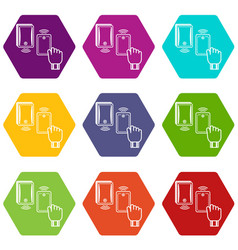 magnetic lock icons set 9 vector image