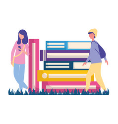 man and woman books stacked vector image
