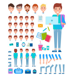 Man constructor set of faces body parts male vector